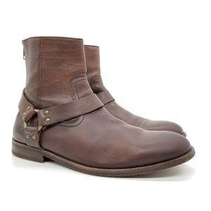 Frye John Addison Harness Boots Back Zipper Sz 11